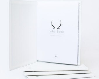 Happy Camper - MODERN BABY BOOK, Mushybooks, Baby Memory Book, Baby Shower Gift, Baby Gift, Baby Shower, Baby Album, Keepsake Baby Book