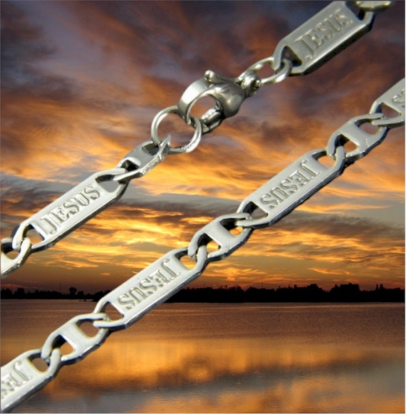 JESUS Stamped Silver Bracelet Necklace Stainless Steel Chain Mens Womans Boys Girls Christian Jewelry - Saint Michaels Jewelry