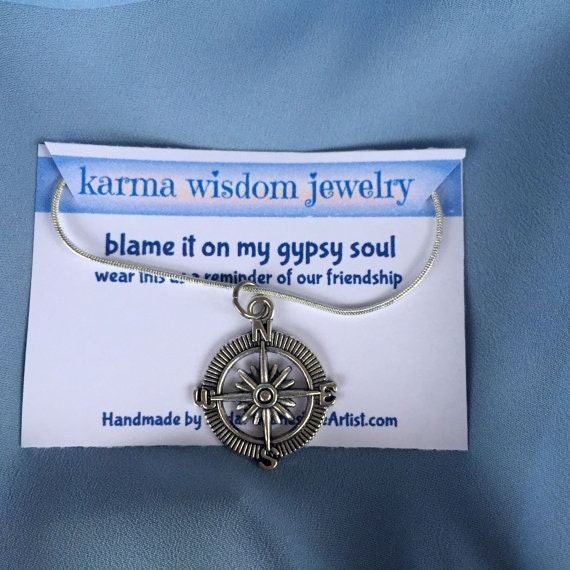 Silver Compass Necklace Karma Wisdom Jewelry With Quote blame it on my gypsy soul Silver Cord and Compass Necklace Personalized Gifts