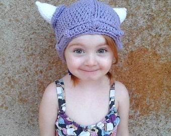 Crochet Lilac Viking hat