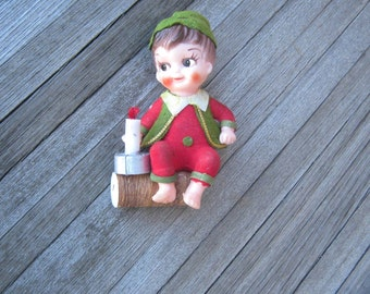 Rare Antique Elf Ornament - Elf with Candle, Sitting on a Log - Made in Japan Vintage Elf Doll - Christmas Elf on a Log