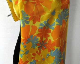 Vintage 70s VERA Silky Scarf Huge Floral Bright Yellow Orange Spring Summer Long