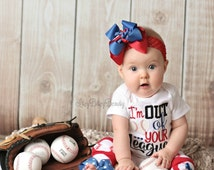 Baseball outfit Im out of your league embroidered shirt headband leg warmers set red blue black baby girls