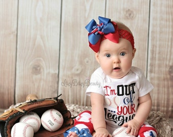 Girls Baseball Outfit - Im Out Of Your League -Embroidered Baseball Shirt - Baseball Headband - Leg Warmers - Baseball Set - Girls Outfit