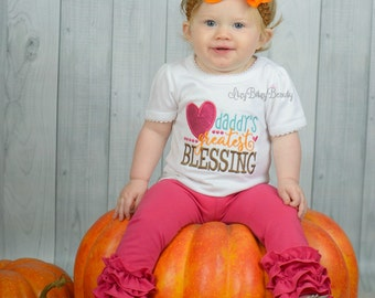 Daddy's greatest blessing embroidered girls first thanksgiving fall shirt