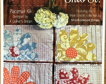 NOW ON SALE! Sew Into It! Quilted Placemats Kit using laser cut/pre-fused fabrics (Makes 4 placemats)