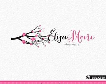 Cherry Blossom Logo, Tree Logo, Photography Logo, Logo Design, Wedding Logo, Pink Logo, Floral Logo, Flower Logo, Watermark, Business Logo