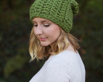 hand crocheted slouchy hat || grass || choose your color