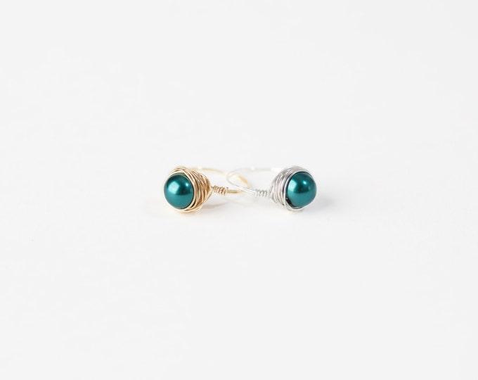 Green Pearl Ring-Green Pearl Wire Ring-Green Pearl Silver Wire Ring-Green Pearl Gold Wire Ring-Wire Jewelry -Silver Wire Ring-Gold Wire Ring