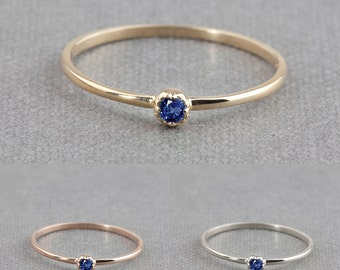 14k gold tiny blue sapphire ring, 2mm or 3mm, september birthstone, dainty blue sapphire stack ring, rose gold, white gold,dal-r101-2mm-bsap