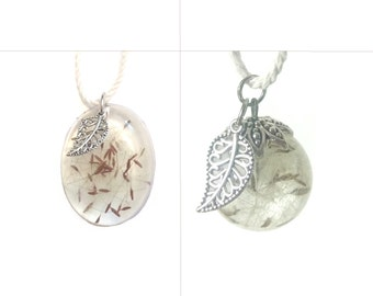 Real Dandelion Fluff Necklace (Oval or Spherical)