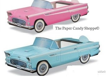 Car Food Trays, Pink Classic Cars and Blue Hot Rod Car Food Containers, Vintage Car Boxes, Baby Shower, Wedding, Centerpieces, Car Favors