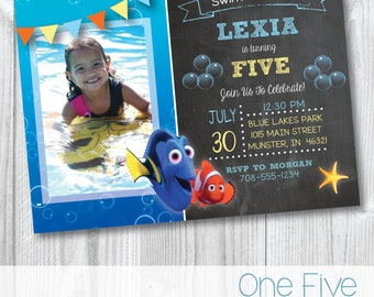Finding Dory Chalkboard Birthday Party Invitation with Photo - Printable (5x7)