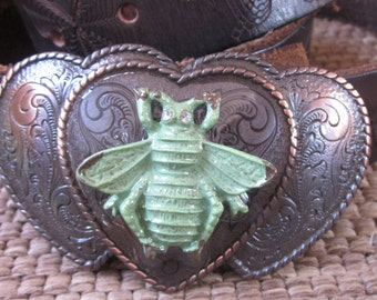copper belt buckle bee belt buckle heart belt buckle bohemian belt buckle floral engraved belt buckle green patina belt buckle women's