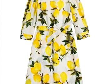 Off shoulder dress, Lemon dress, White dress, Floral dress, Loose fit dress, Country dress, Three quarter sleeves dress, Designer dress MS60