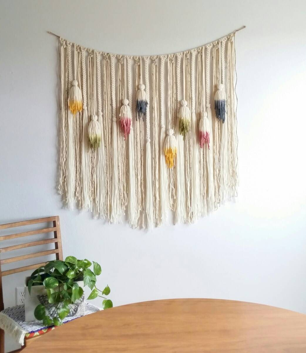 Large Tassels Home Decor: Yarn Wall Hanging. Macramé Hanging. Large. Tassels. Bohemian