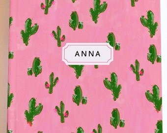 Personalized Journal /Notebook: Cactus Pattern {Illustrated Notebook, Fashion Notebook, Preppy Notebook, Hardcover Journal}