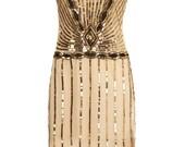 Plus Size Eva Blush Dress with Sleeves Vintage 1920s Flapper Great Gatsby Downton Abbey Charleston Bridesmaid Art Deco