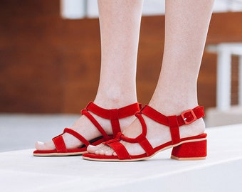 Red Strappy Sandals, Womens Sandals, Ankle Strap, Casual Summer Shoes, Hippie Sandals, Greek Sandals, FREE SHIPPING, Open Toe Shoes