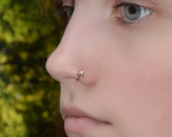 2mm White Opal Nose Ring - Gold Nose Hoop - Tragus Earring - Cartilage Hoop - Forward Helix Earring - Septum Ring - Nose Piercing 18 gauge