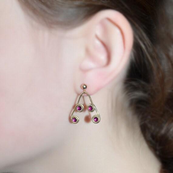3mm Red Ruby Dangle Earrings - 14k Gold Filled Delicate Earings - Long Dangle Drop Earrings - Post Earings - Thread Earrings