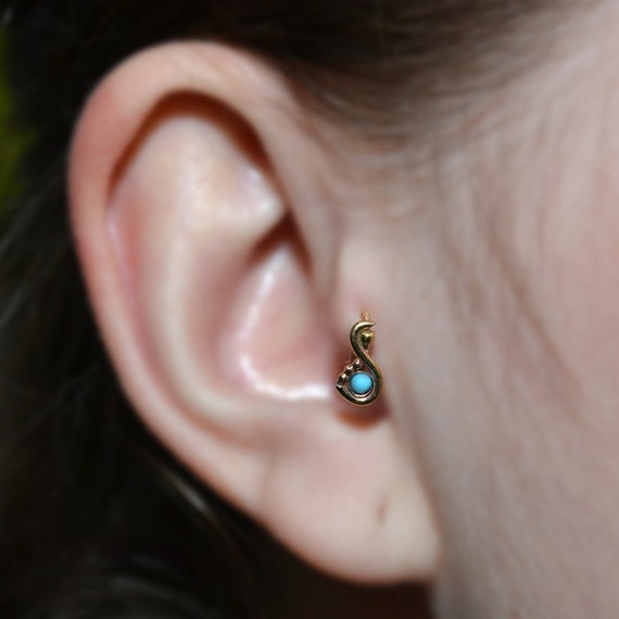 Tragus Earring 20g - Gold Nose Ring - 2mm Turquoise Tragus Hoop - Forward Helix Earring - Cartilage Earring - Rook Piercing - Conch Earring