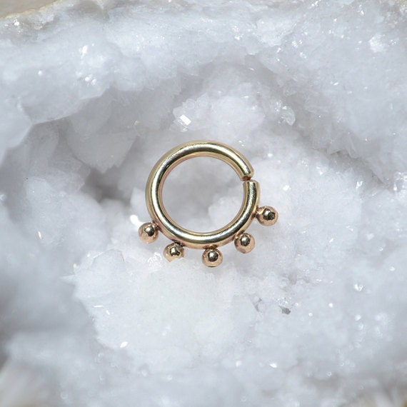Septum Ring - Gold Septum Jewelry - Nose Ring - Tragus Earring - Cartilage Hoop - Helix Piersing - Nipple Ring - Rook Earring 14 gauge