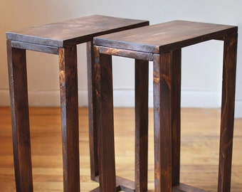 Pair of Thin Side Tables, End Tables, Nightstands, Pedestal, Plant Stands made from reclaimed wood- Dark Walnut