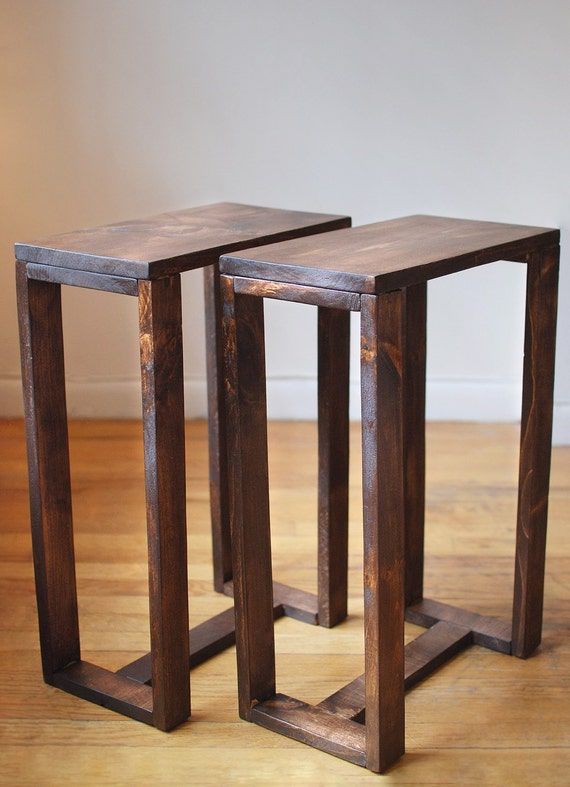 Pair of thin side tables end tables nightstands pedestal for Small wood end table