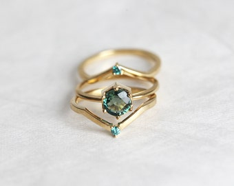 Green Sapphire Engagement Ring, Mint Sapphire Engagement Ring Set with Blue Diamond Band, Three Ring Set, 18k Yellow gold