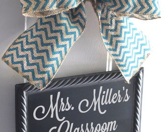 Teacher Sign CHALKBOARD Personalize Hanging Door Signs  Burlap Blue Chevron Bow Ribbon Blackboard - Back to School