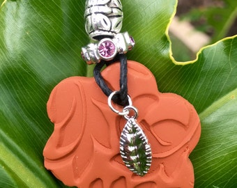 Leaf Charm Terra Cotta Pendant (Includes Essential Oil of Your Choice)