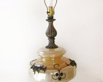 Vintage Orange Amber Glass Globe Table Lamp with Ornate Metal Feet and Stem