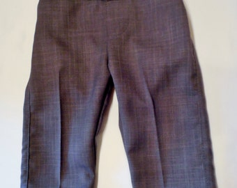 Infant or toddler suit pants in gray or black. Gray or black faux fly polyester suit pants for boys. Sizes 6 months - size 6.