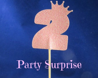 Number 2 Cupcake Toppers Pink Glitter Girl 2nd Birthday Cupcake Toppers 2 Year old Girl Party Cupcake Toppers