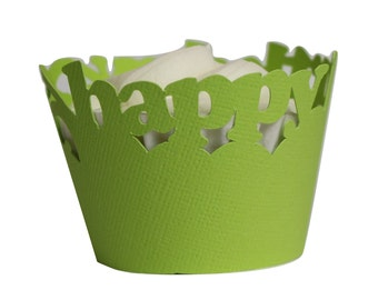 Lime Green Happy-birthday Cupcake Wrappers, Set of 12, Birthday, Green Texture, Cupcake Decor, Handcrafted Party Decor, Party Supplies