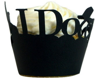 Black I Do & Wedding Rings Cupcake Wrappers, Set of 12