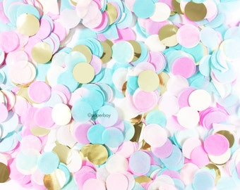 """Gender Reveal Confetti - Cotton Candy - Tissue Paper & Metallic - 1"""" Circle One Inch Handmade ..."""