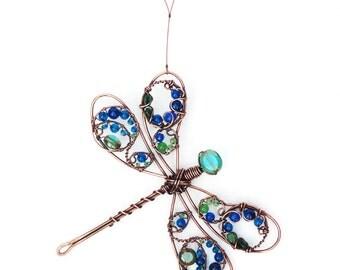 Suncatcher, Demoiselle Dragonfly, Metallic Blue, 30th Birthday Gift, Copper Wire Ornament, Wife Gift, Best Auntie Ever, Wildlife Wall Art