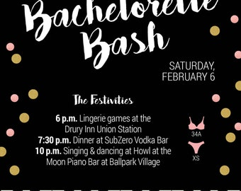 Piano bachelorette invitation