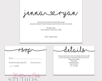Printable Invitation Template, Wedding Template, Wedding Invitation, Printable Wedding Invitation Set, Invitation Template