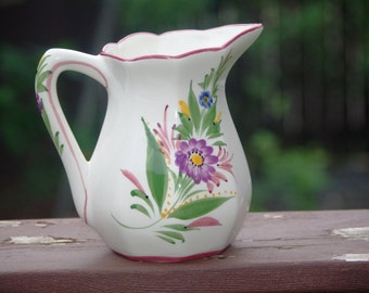 """Vintage Handpainted RCCL Pitcher, Flowers, Made in Portugal RCCL, 6 1/2"""", 1970s"""