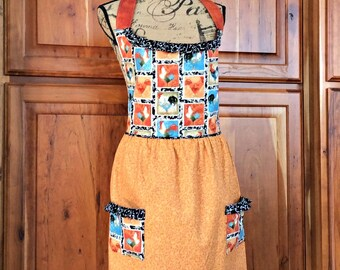 Cute Country Kitchen Apron - Roosters Country Farmhouse Apron, Fully Lined Womens Apron with Rooster Print and Black Ruffles