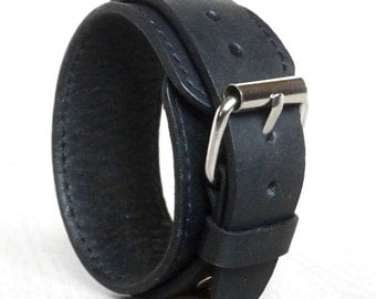 Genuine Leather Bracelet 33mm, Leather Wristband, Men Women Leather Cuff, Black Bracelet, Leather Bangle.