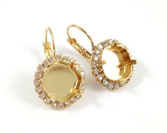 Rhinestone Gold Earrings Settings 1 Pair Fits 12mm Swarovski Crystal 4470 Cushion Cut