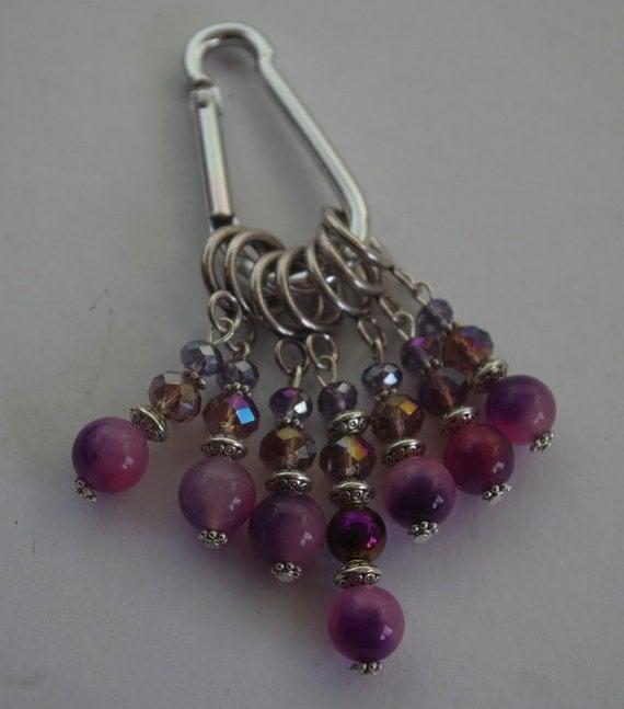 Knitting Accessories Australia : Knitting stitch markers set of purple