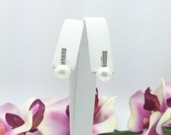0.16CTW Pearl & Diamonds Earrings in 14K White Gold
