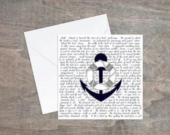 Nautical Anchor Card, Navy quotes card, Anchor Design, Nautical Art, Marine Nautical art, Maritime, Coastal Living, Ship Anchor Card