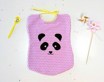 Bavoir enfant Panda, bavoir éponge fille, bavoir naissance, bavoir animaux, bavoir rose, panda - cadeau naissance, cadeau panda, accessoires