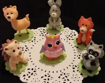 Girly Woodland Baby Shower, Pink Woodland Animal, Pink Forest Animal, Woodland Baby Shower, Girls Woodland Animals, Pink Woodland Decoration